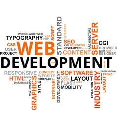 Word cloud web development vector