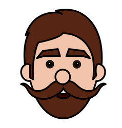 young man with mustache head avatar vector image