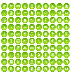 100 activity icons set green circle vector