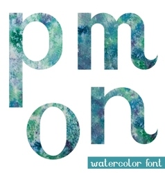 Green-blue watercolor font mnop vector