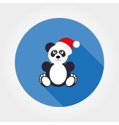 Panda in santa hat vector