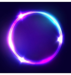 Neon sign round frame with glowing and light vector