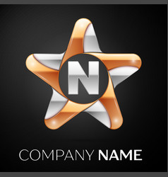 Letter n logo symbol in the colorful star on black vector