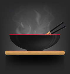 Asian soup plate on desk vector