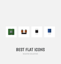 Flat icon electronics set of receiver unit coil vector