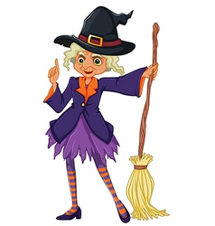 An old witch holding a broomstick vector