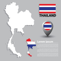 Flag and map of thailand vector