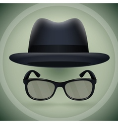 Black fedora and eyeglasses vector
