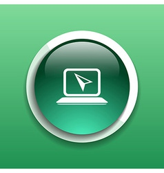 Laptop icon button with metallic rim original vector