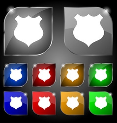 Shield icon sign set of ten colorful buttons with vector