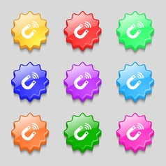 Magnet icon sign symbol on nine wavy colourful vector