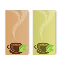 Cups of fragrant black and green tea vector