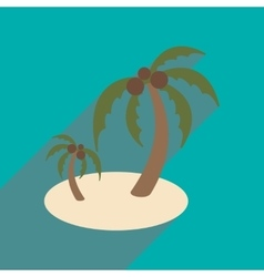 Modern flat icon with long shadow Indian palms vector image
