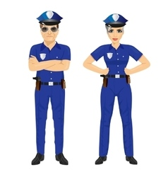 Confident police man and woman agents in uniform vector
