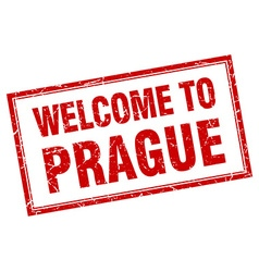 Prague red square grunge welcome isolated stamp vector