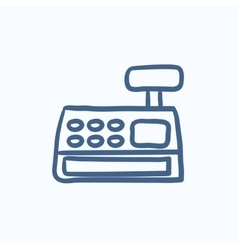 Cash register machine sketch icon vector