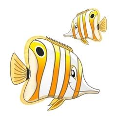 Cartoon tropical marine butterflyfish character vector image