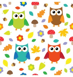 Autumn background with owls vector