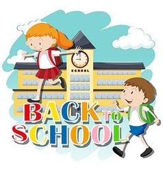 Back to school theme with kids at school vector