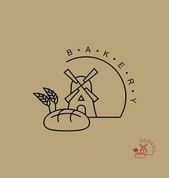 Bakery logo line emblem for bread store windmill vector