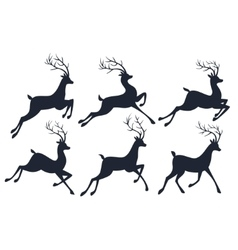 Christmas reindeer silhouettes isolated on white vector image
