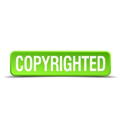copyrighted green 3d realistic square isolated vector image vector image