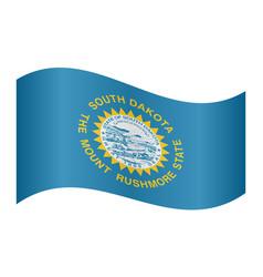 flag of south dakota waving on white background vector image