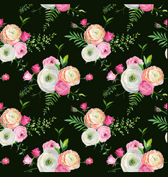 Floral seamless pattern with pink flowers vector