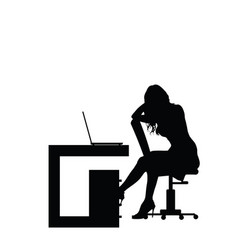 girl silhouette in office vector image vector image