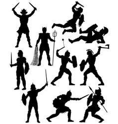 gladiator silhouettes vector image vector image