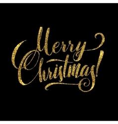 Gold merry christmas card golden shiny glitter vector