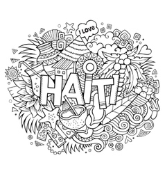 Haiti hand lettering and doodles elements vector