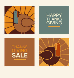 happy thanksgiving design elements vector image