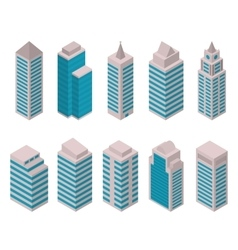 Isometric set of tall buildings vector image vector image