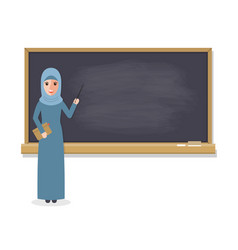 muslim teacher teaching student in classroom vector image