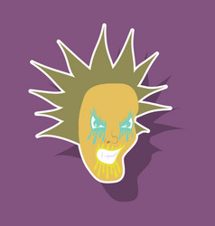 Paper sticker on theme evil face vector