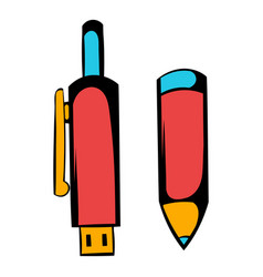 pen gun icon cartoon vector image