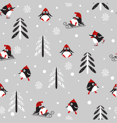 seamless background with penguins and trees vector image