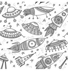 Seamless pattern with ethnic ornamental rockets vector