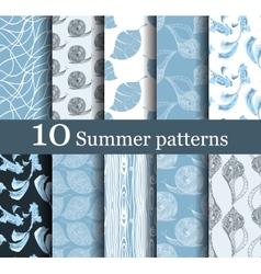 Set of 10 summer seamless patterns vector