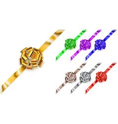Set of corner big bows of shiny ribbons vector