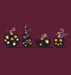 Set of scary halloween pumpkins jackolanterns vector