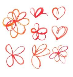 Set of watercolor heart spots vector