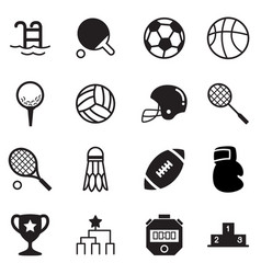 silhouette basics sports equipment icons symbol vector image