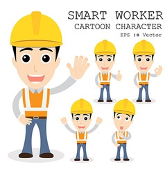 Smart worker cartoon character eps 10 vector
