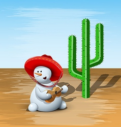 Snowman and cactus vector