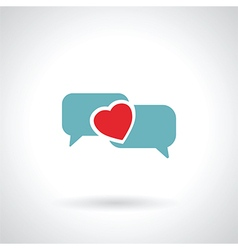 speech bubble heart vector image vector image