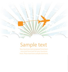 Sunburst retro and airplane cloud vector