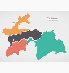 Tajikistan map with states and modern round shapes vector