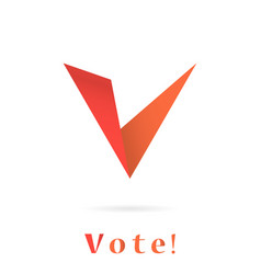 V letter icon elections concep vector